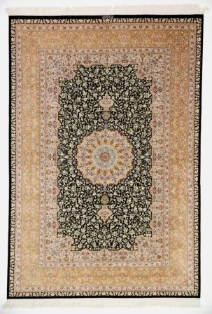 Large 8x5 high quality Qom silk Persian rugs. Pure Silk Qum Persian carpet with dark colors.