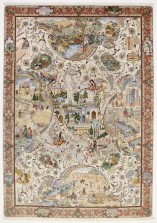 60 Raj pictorial Tabriz Persian rug with a silk foundation. Pictorial Tabriz Persian carpet of Persian history