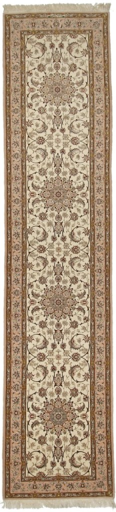 Isfahan runner Persian rug with silk foundation. Very fine Isfahan Persian carpet runner with lots of silk highlights.