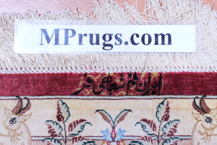 Burgundy Pictorial Hunting Qom silk Persian rugs. Pure Silk Qum Persian carpet with hunting design.