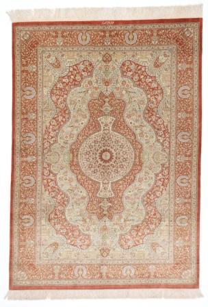 6x4 Qom silk Persian rugs. Pure Silk Qum Persian carpet with light colors.