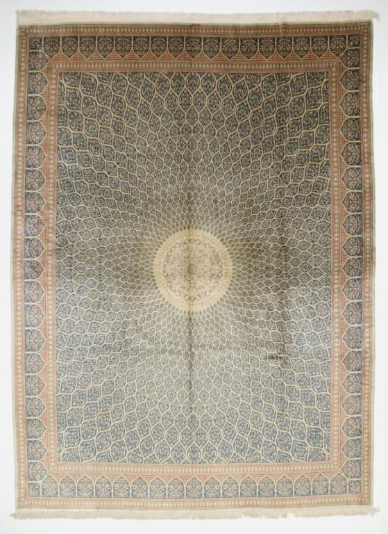 Gonbad Design Qom silk Persian rugs. Pure Silk Qum Persian carpet with the Gombad Dome design.