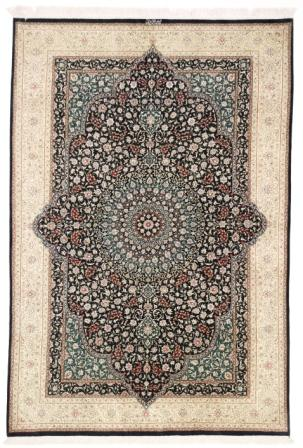 6x4 dark colored Qom silk Persian rugs. Pure Silk Qum Persian carpet with dark gold colors.