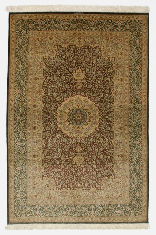 6x4 dark colored Qom silk Persian rugs. Pure Silk Qum Persian carpet with dark gold colors.