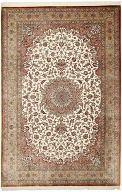 3m by 2m Qom silk Persian rugs. Pure Silk Qum Persian carpet in the 2m by 3m size.