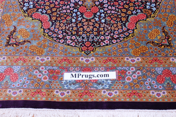 6x4 lilac colored Qom silk Persian rugs. Pure Silk Qum Persian carpet with dark lilac color.