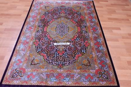 6x4 lilac colored Qom silk Persian rugs. Pure Silk Qum Persian carpet with lilac color.