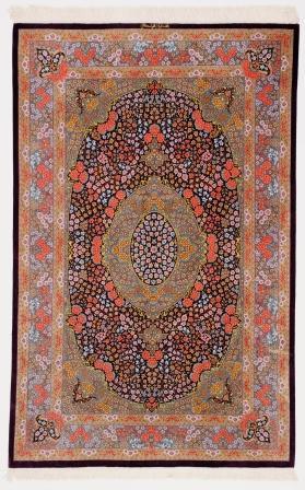 6x4 burgundy colored Qom silk Persian rugs. Pure Silk Qum Persian carpet with dark burgundy color.
