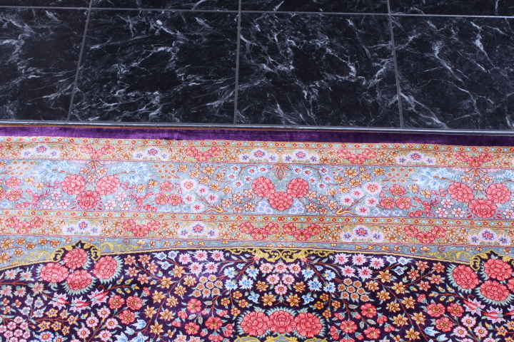 6x4 lilac colored Qom silk Persian rugs. Pure Silk Qum Persian carpet with dark burgundy color.