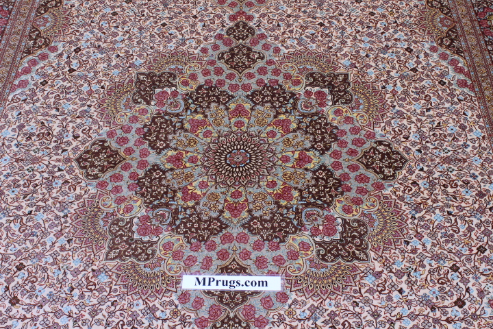 10x7floral design Qom silk Persian rugs. Pure Silk Qum Persian carpet with floral design.