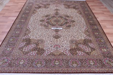 10x7 floral design Qom silk Persian rugs. Pure Silk Qum Persian carpet with floral design.