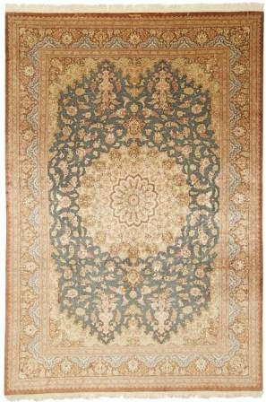 signed blue brown 9x6 Qom silk Persian rugs. Pure Silk Qum Persian carpet with sgnature.