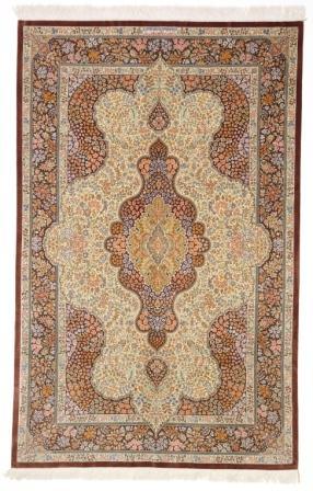 6x4 dark colored Qom silk Persian rugs. Pure Silk Qum Persian carpet with creme gold colors.