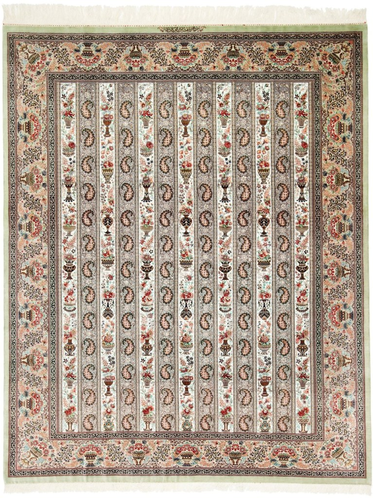 Large 8x6 high quality Qom silk Persian rugs. Pure Silk Qum Persian carpet with highest quality.