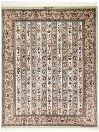 Qum pure silk 8x5 Persian rug. Pure Silk Qum Persian carpet with 600 to 700KPSI