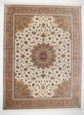 12x9 oversize beige Qom silk Persian rugs. Pure Silk Qum Persian carpet in 3m by 4m oversize.