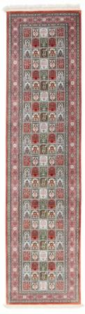 Pictorial tile pattern Qom silk Persian rugs runner. Pure Silk Qum Persian carpet runner with rare tile design.