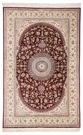 6x4 burgundy colored Qom silk Persian rugs. Pure Silk Qum Persian carpet with dark burgundy color.