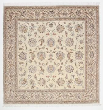 Square Faraji Tabriz Persian rug. Masterpiece Tabriz Persian carpet.