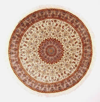 large round Qom silk Persian rugs. Round pure Silk red beige Qum Persian carpet