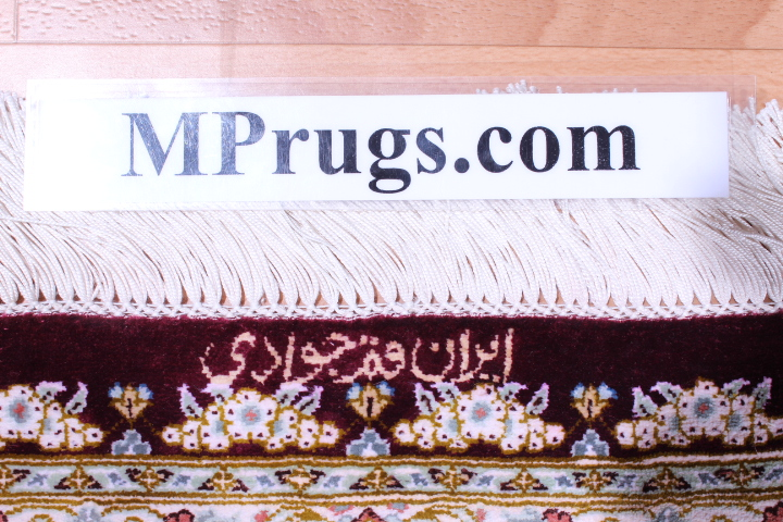 8x5 burgundy colored Qom silk Persian rugs. Pure Silk Qum Persian carpet with dark burgundy color.