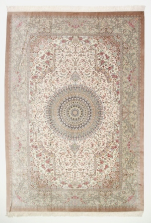 11x8 light pastel colored Qom silk Persian rugs. Pure Silk Qum Persian carpet with light brown gold colors.