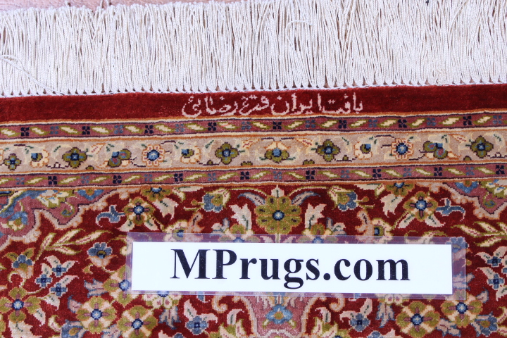 6x4 orange red Qom silk Persian rugs. Pure Silk Qum Persian carpet with orange red colors.