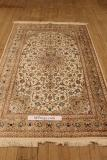 4x6 beige brown colored Qom silk Persian rugs. Pure Silk Qum Persian carpet with light colors.