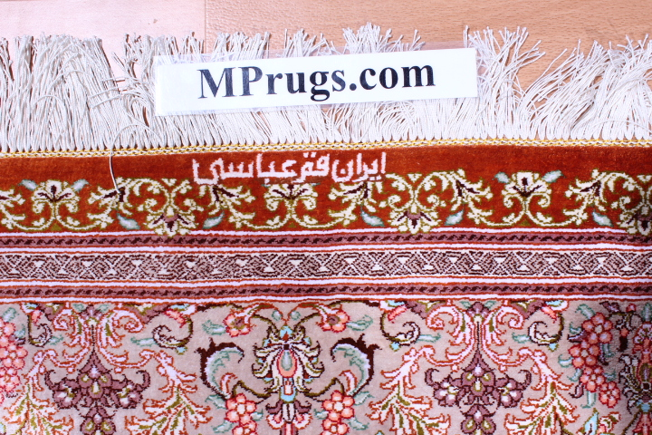Light colored 6x4 Qom silk Persian rugs. Pure Silk Qum Persian carpet with hunting design.