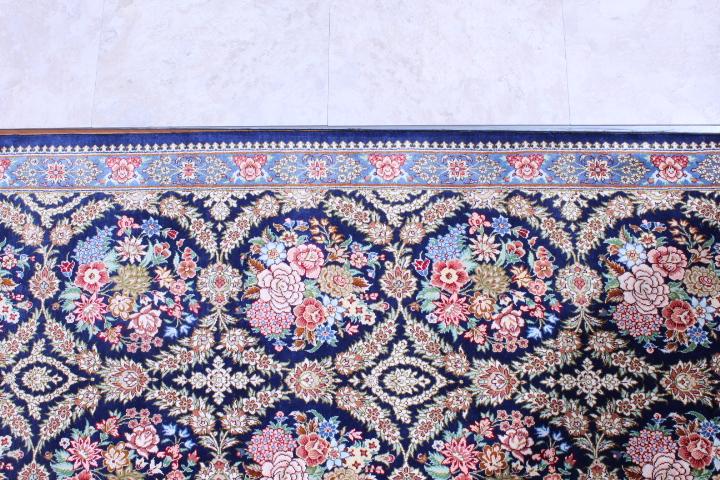 Long Qom silk Persian rugs runner. Pure Silk Qum Persian carpet runner.
