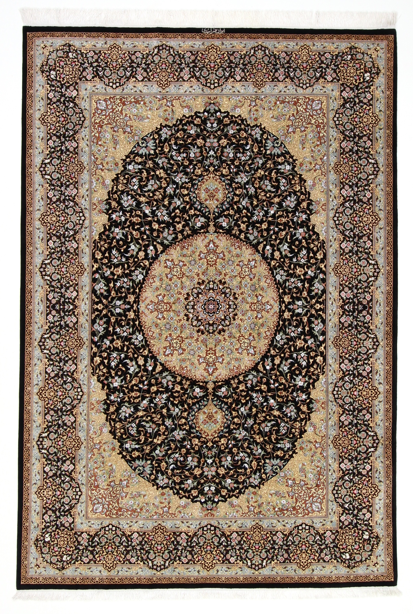 8x5 burgundy colored Qom silk Persian rugs. Pure Silk Qum Persian carpet with dark blue color.