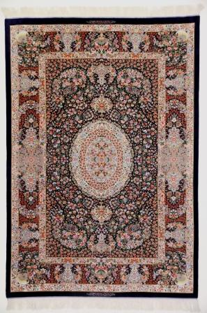 6x4 dark colored Qom silk Persian rugs. Pure Silk Qum Persian carpet with floral design.