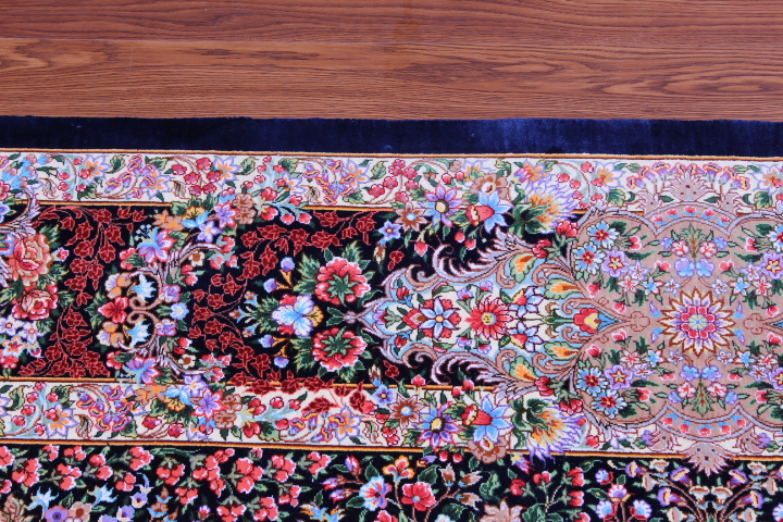6x4 dark colored Qom silk Persian rugs. Pure Silk Qum Persian carpet with 800 KPSI.