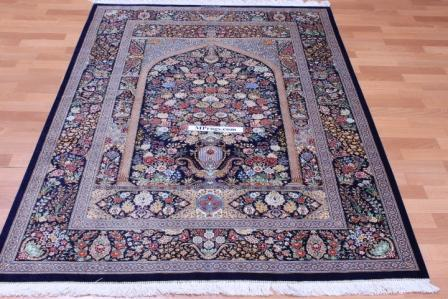 Pictorial Floral Dark Qom silk Persian rugs. Pure Silk Qum Persian carpet with dark floral design