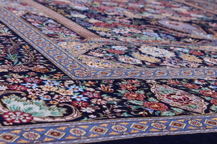 Pictorial Floral Dark Qom silk Persian rugs. Pure Silk Qum Persian carpet with dark floral design.
