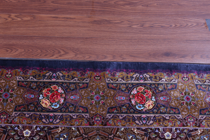 Gonbad Design Qom silk Persian rugs. Pure Silk Qum Persian carpet with the Gombad Dome design.