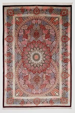 Burgundy Pictorial Hunting Qom silk Persian rugs. Pure Silk Qum Persian carpet with hunting design