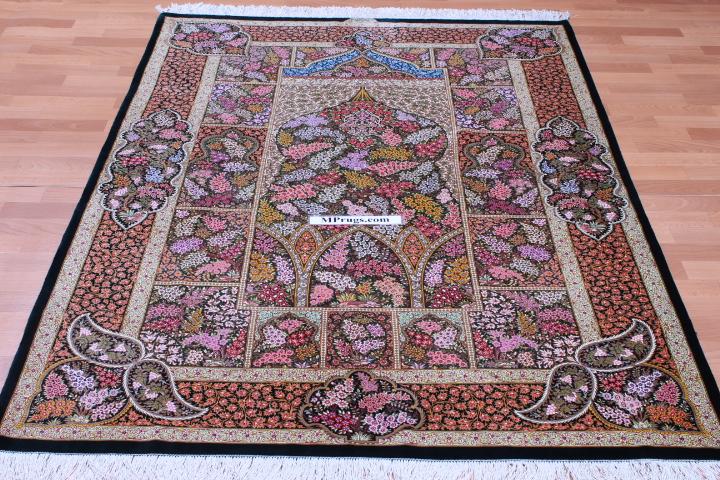 6x4 dark green silk qom Persian rug; green pure silk Qum Persian carpet. Genuine pure silk qom Persian rug