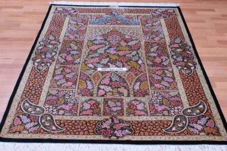 900 KPSI Qom silk Persian rugs. Masterpiece Pure Silk Qum Persian carpet for collectors