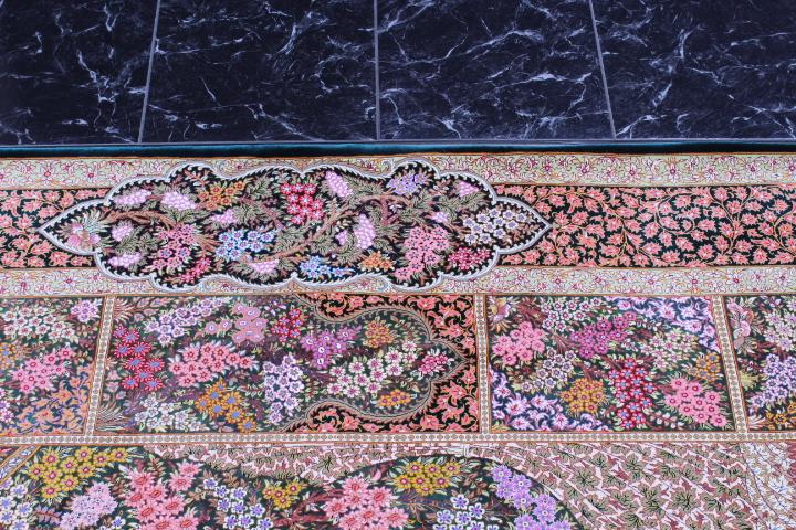 6x4 dark green silk qom Persian rug; green pure silk Qum Persian carpet.