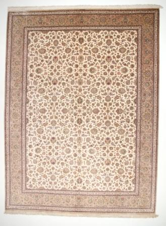 12x9 oversized Qom silk Persian rugs. Pure Silk Qum Persian carpet in 12x9 with over 800 KPSI.