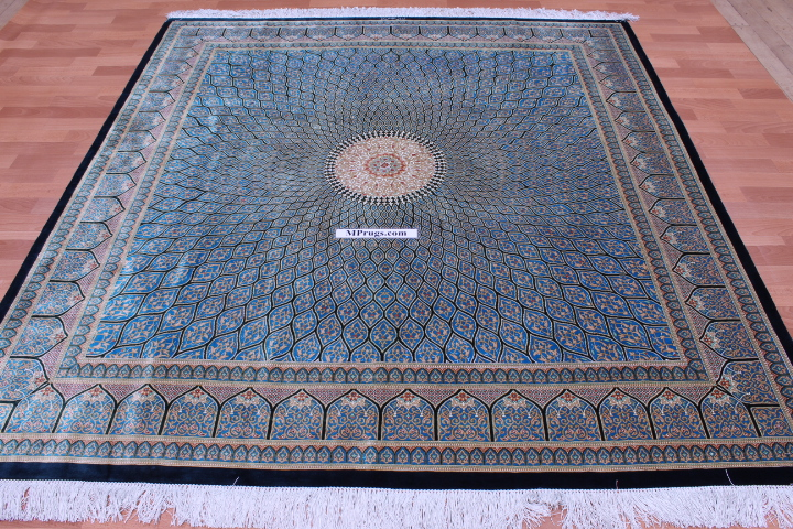7' (2m) Square Qum pure silk Qom Persian rug with Gonbad design
