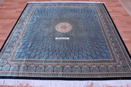 7' (2m) Square Qum pure silk Qom Persian rug with Gonbad design