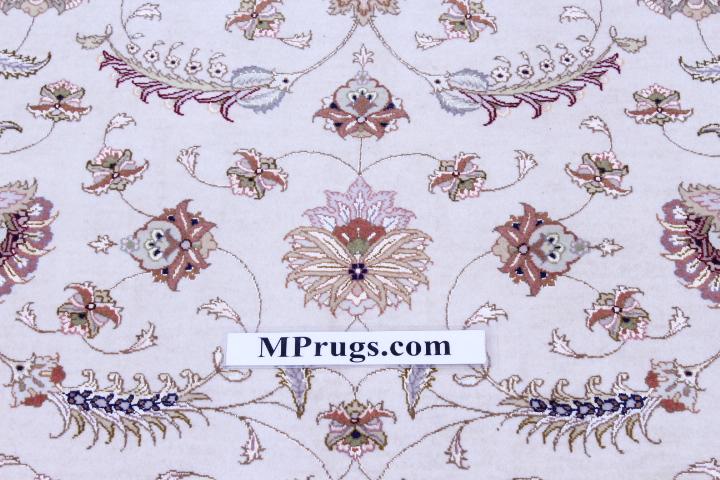 Square Silk Foundation Faraji Tabriz Persian rug. 400 KPSI Tabriz Persian carpet.