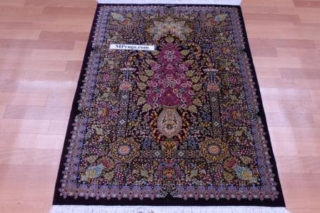 4x3 silk qum Persian rug 800 kpsi, silk Qom carpet