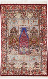 5x3 silk qom Persian rug with 1000 kpsi; pure silk pictorial Qum Persian carpet. Pictorial masterpiece pure silk qom Persian rug