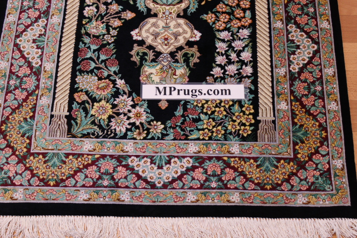 4x2 black burgundy silk qum Persian rug, signed qom carpet