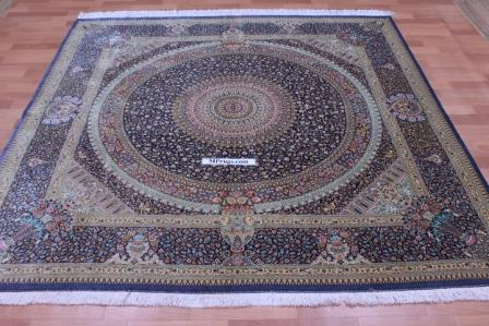 Square silk Qum Persian rug with 800 KPSI & Signature
