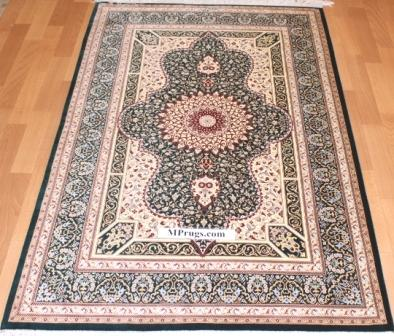 3x5 green silk qum Persian rug with signature