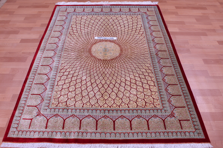 6'x4' pure silk Qum Persian rug with Gonbad Design